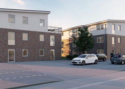 moderne Häuser mit Parkplatz
